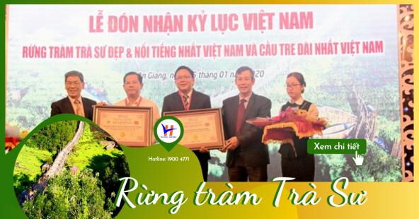 """Rừng tràm Trà Sư nhận kỷ lục """"khu rừng tràm đẹp nhất Việt Nam"""""""